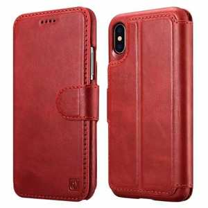 For iPhone XS Max ICARER Detachable 2 in 1 Wallet Folio Genuine Leather Case - Red