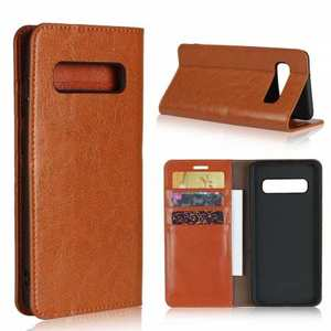 Flip Magnetic Wallet Genuine Leather Case Cover For Samsung Galaxy S10 - Brown
