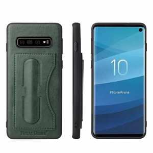 Stand Leather Back Case For Samsung Galaxy S10 - Green