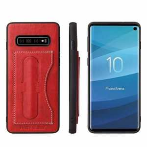 For Samsung Galaxy S10 Plus Leather Back Stand Case - Red