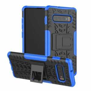 Shockproof Armor TPU Hard Stand Case For Samsung Galaxy S10 - Blue