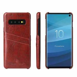 For Samsung Galaxy S10 Oil Wax Leather Credit Card Holder Back Case Cover - Brown
