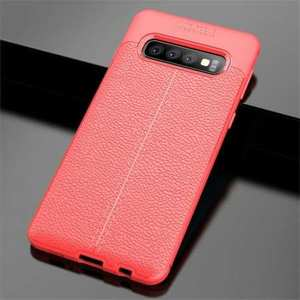 For Samsung Galaxy S10 Plus 9Silicone Rubber Leather TPU Slim Cover Case - Red