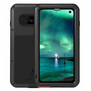 For Samsung Galaxy S10E Gorilla Glass Aluminum Metal Case Cover - Black