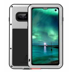 For Samsung Galaxy S10E Gorilla Glass Aluminum Metal Case Cover - Silver