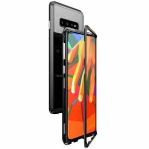 Case For Samsung Galaxy S10 Plus Magnetic Adsorption Metal Frame + Tempered Glass Back Cover - Black