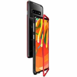Case For Samsung Galaxy S10 Plus Magnetic Adsorption Metal Frame + Tempered Glass Back Cover - Black&Red
