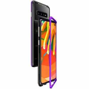 Case For Samsung Galaxy S10 Plus Magnetic Adsorption Metal Frame + Tempered Glass Back Cover - Blakc&Purple