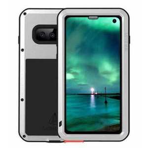Waterproof Shockproof Metal Aluminum Gorilla Glass Case For Samsung Galaxy S10 - Silver