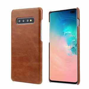 Matte Genuine Leather Back Case Cover for Samsung Galaxy S10 - Brown