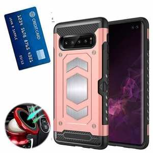ID Card Slot Holder Magnetic Metal Case TPU Back Cover For Samsung Galaxy S10 - Rose Gold