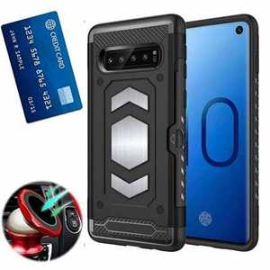 ID Card Slot Holder Magnetic Metal Case TPU Back Cover For Samsung Galaxy S10 - Black