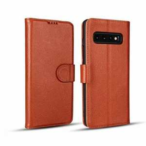 Lichee Pattern Genuine cowhide leather wallet case For Samsung Galaxy S10 - Brown