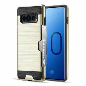 For Samsung Galaxy S10 ShockProof Hybrid Rugged Card Slot Phone Case Cover - Gold