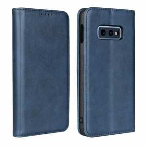 Magnet Adsorption Stand Flip Leather Case for Samsung Galaxy S10e - Dark Blue