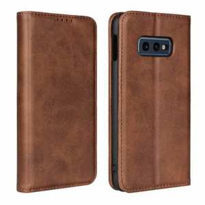 Magnet Adsorption Stand Flip Leather Case for Samsung Galaxy S10e - Dark Brown