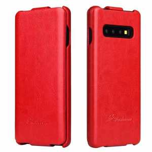 Crazy Horse Grain Vertical Flip Leather Case For Samsung Galaxy S10 - Red