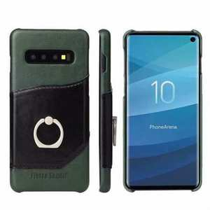 For Samsung Galaxy S10 Plus Ring Holder Kickstand Genuine Leather Case - Green