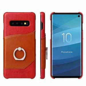 For Samsung Galaxy S10 Plus Ring Holder Kickstand Genuine Leather Case - Red