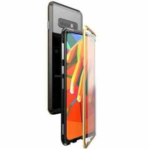 For Samsung Galaxy S10e 360 Protection Magnetic Metal Tempered Glass Case - Black&Gold