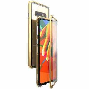 For Samsung Galaxy S10e 360 Protection Magnetic Metal Tempered Glass Case - Gold