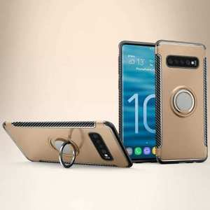 Magnetic Car Holder Ring Stand Soft TPU Case Cover for Samsung Galaxy S10 Plus - Gold