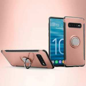 Magnetic Car Holder Ring Stand Soft TPU Case Cover for Samsung Galaxy S10 Plus - Rose Gold