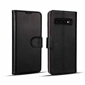 Wallet Stand Leather Case for Samsung Galaxy S10 Plus - Black