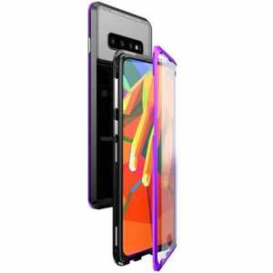Aluminum Metal Tempered Glass Full Case for Samsung Galaxy S10 Plus - Black&Purple