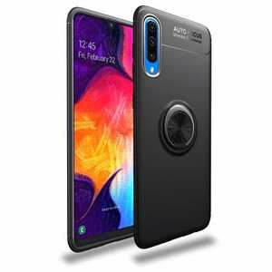 For Samsung Galaxy A50 Shockproof Armor Magnet Ring Holder Stand Case Cover - Black