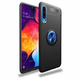 For Samsung Galaxy A50 Shockproof Magnet Ring Holder Stand Case Cover - Black&Blue