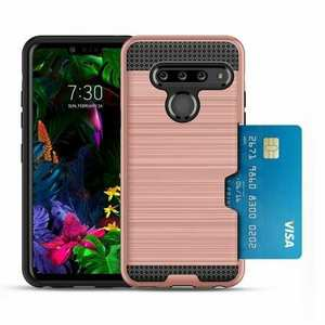 For LG G8 ThinQ Shockproof Case Card Slot Rugged Armor Cover Rose Gold