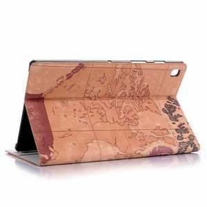 World Map Flip Leather Case For Samsung Galaxy Tab S5e 10.5 T720 T725 - Brown