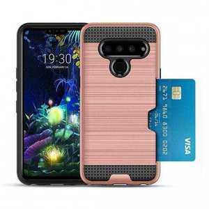 For LG G8s ThinQ Shockproof Brushed Card Holder Hard Case Cover