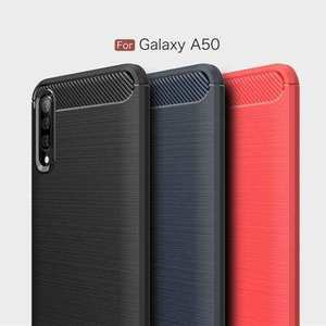For Samsung Galaxy A50 Shockproof Rubber Carbon Fiber Soft Case Cover
