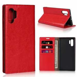 For Samsung Galaxy Note 10+ Crazy Horse Genuine Leather Wallet Case - Red