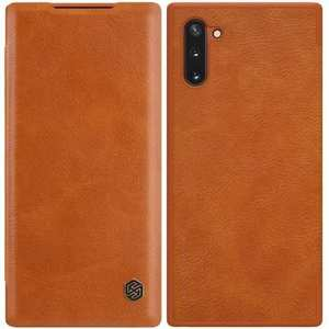 For Samsung Galaxy Note 10 Genuine Nillkin Qin Leather Card Slot Flip Case Cover - Brown