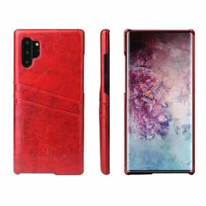For Samsung Galaxy Note 10+ Oil Wax Leather Back Case Cover - Red