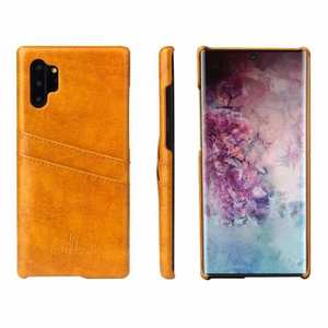 For Samsung Galaxy Note 10+ Oil Wax Leather Back Case Cover - Yellow