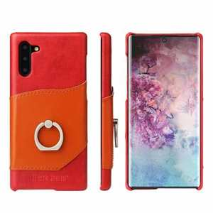 For Samsung Galaxy Note 10+ Ring Holder Kickstand Genuine Leather Case - Red
