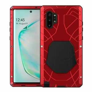 For Samsung Galaxy Note 10+ Plus Powerful Metal Aluminum Armor Silicone Case - Red