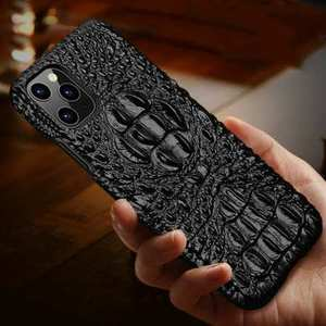 For iPhone 12 Pro Max Case 3D Crocodile Genuine Leather Alligator Retro Cover
