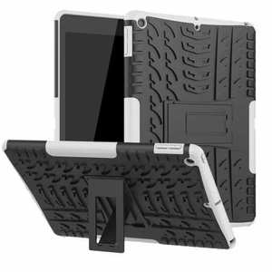 "For iPad 10.2"" 7th 8th Gen Hybrid Shockproof Rugged Hard PC Case Cover w/ Stand - White"