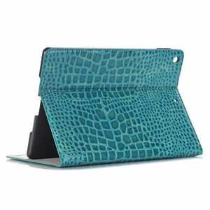 "For iPad 7th 8th Gen 10.2"" Crocodile Grain Leather Smart Folio Cover Case"