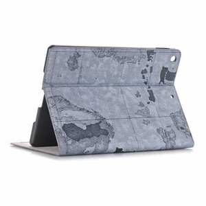 "For iPad 7th 8th Gen 10.2"" Map Printing Leather Smart Cover Case - Grey"
