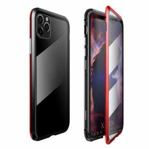 For iPhone 11 Pro Case Magnetic Absorption Metal Back Glass Cover - Black&Red