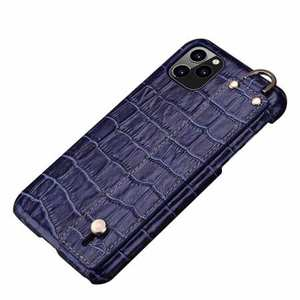For iPhone 11 Pro Max Genuine Leather Case Crocodile Bracelet Holder Cover - Navy Blue