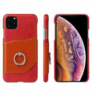 For iPhone 11 Pro Max Genuine Leather Wallet Case Ring Magnetic Cover - Red