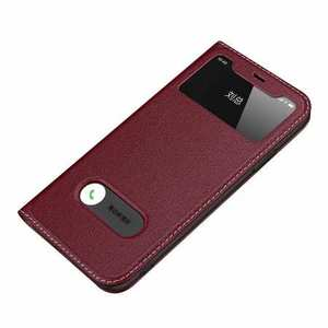 For iPhone 11 Pro Max Genuine Leather Window View Magnetic Flip Case Cover - Wine Red