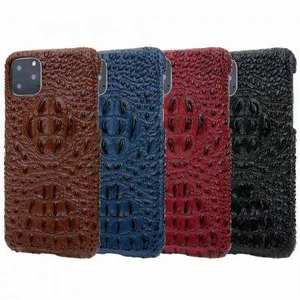 For iPhone 11 Pro Max Luxury 3D Crocodile Genuine Leather Cover Matte Back Case